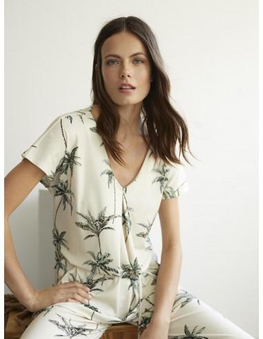 """Camiseta """"Palmiers"""" caqui con estampado de palmeras."""