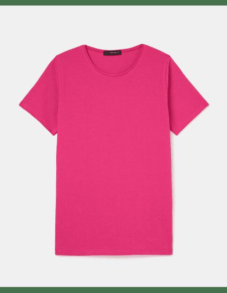 "Camiseta ""Rala"" de algodón, manga corta y cuello redondo fucsia"