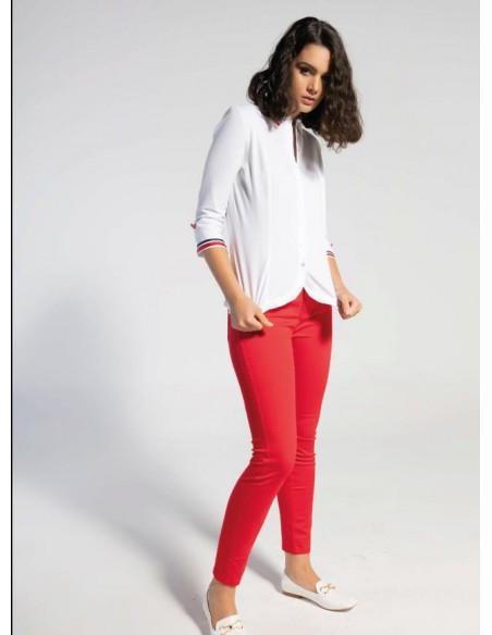 Camisa camisera con manga francesa con ribetes bicolor en mangas y cuello.